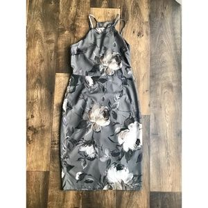 NEW ASOS Grey Floral Drape Back Midi Dress Size 8